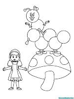 Alice berada di wonderland didekat jamur raksasa