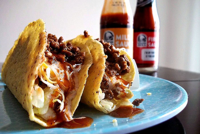Savory Ground Beef Tacos With Taco Bell Bottled Sauce