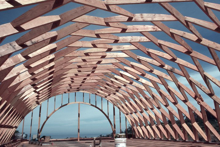 Eugene ray architect the silver ship 1978 la jolla calfornia for Barrel roof trusses