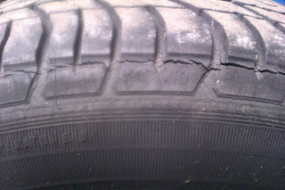 image: car tyre with large cracks around the tyre tread