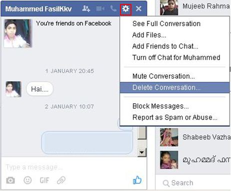 how to delete all or individual facebook messages in chat