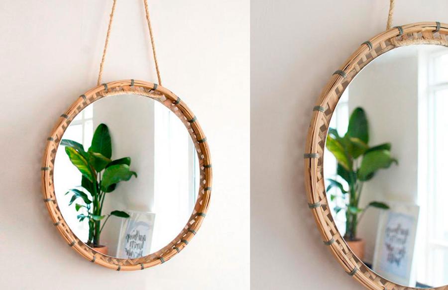 Small lowcost 5 tutoriales para espejos redondos for Ideas para decorar espejos redondos