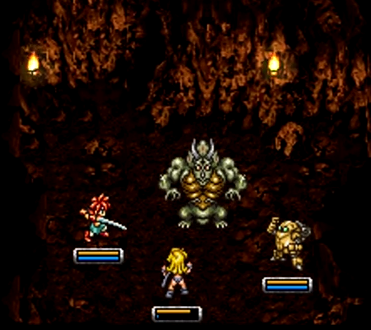 Crono, Ayla, and Robo do battle against the imposing Nizbel, a boss in 65,000,000 BC's Reptite Lair