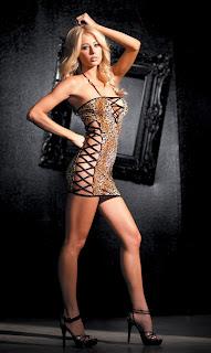 Stretch Leopard Print Club Dress with Criss-Cross Sides