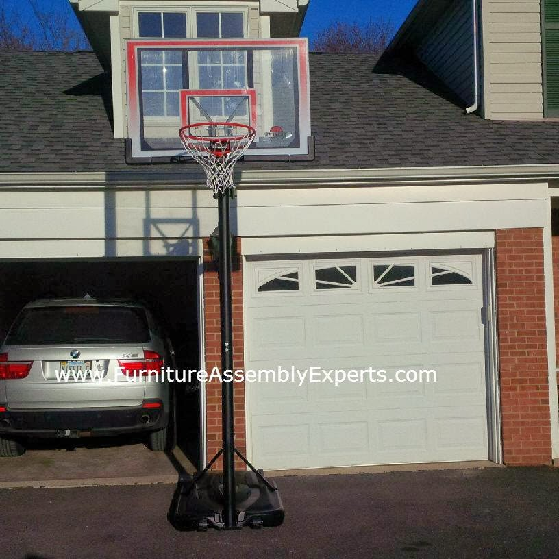 Portable basketball hoop installation service in for Basketball garage