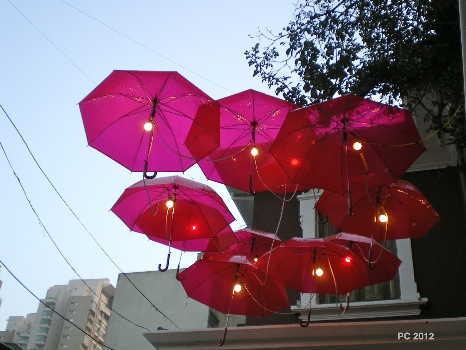 The lookout diy design floating umbrella lights for Architecture upbrella