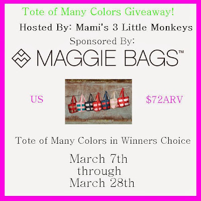 Sign up for the Maggie Bags Blogger Opp. Giveaway starts 3/7.