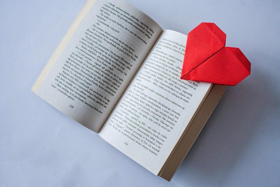 książka, zakładka, serce, walentynki, diy