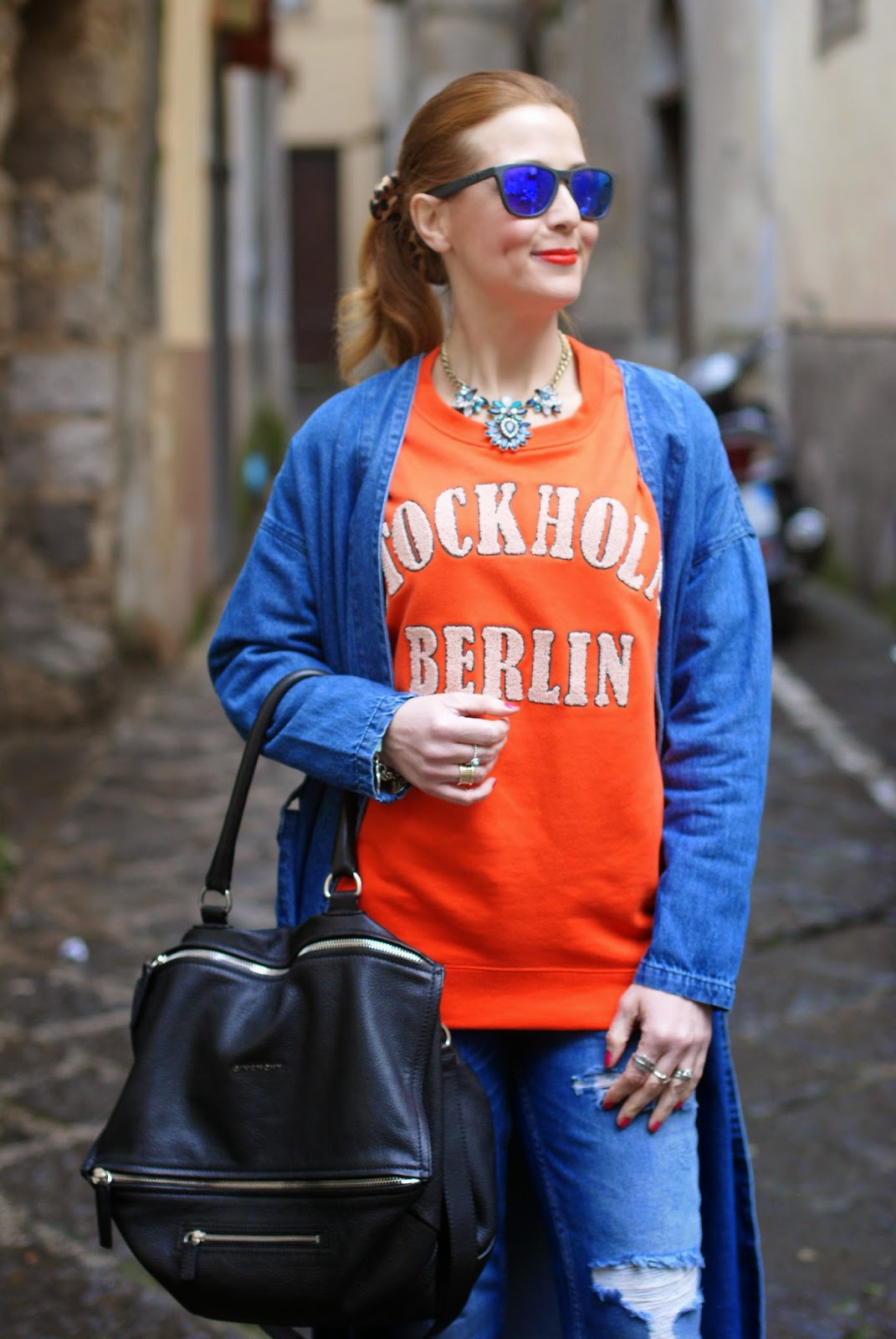 Monki, Monki belted denim jacket, H&M orange sweatshirt, denim long jacket, stockholm berlin sweatshirt, Givenchy Pandora bag on Fashion and Cookies fashion blog, fashion blogger