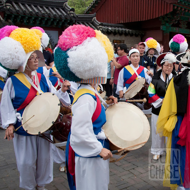 Samulnori, traditional Korean drumming, in Jeonju, South Korea.