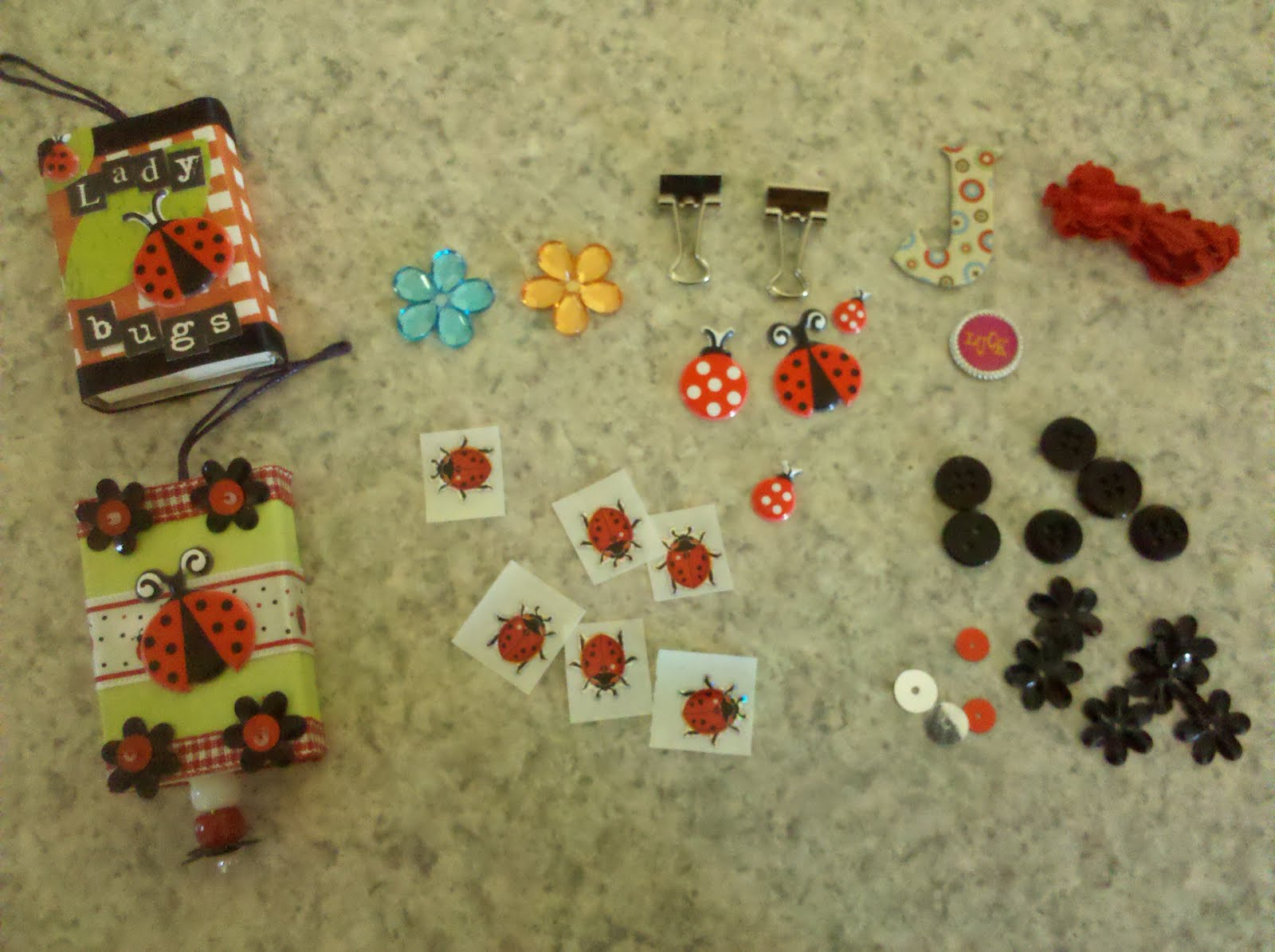 Ladybug ornaments - Here S A Close Up Of The Matchbox Ornaments Each Of The Ladybug Ornaments Was Filled With Loot Look At All Of These Great Embellishments For My Future