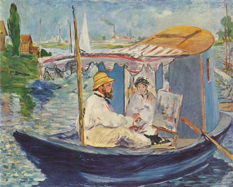 Art Talk - foredrag om kunst. Edouard Manet: Claude Monet i sit båd-atelier (Argenteuil), 1874