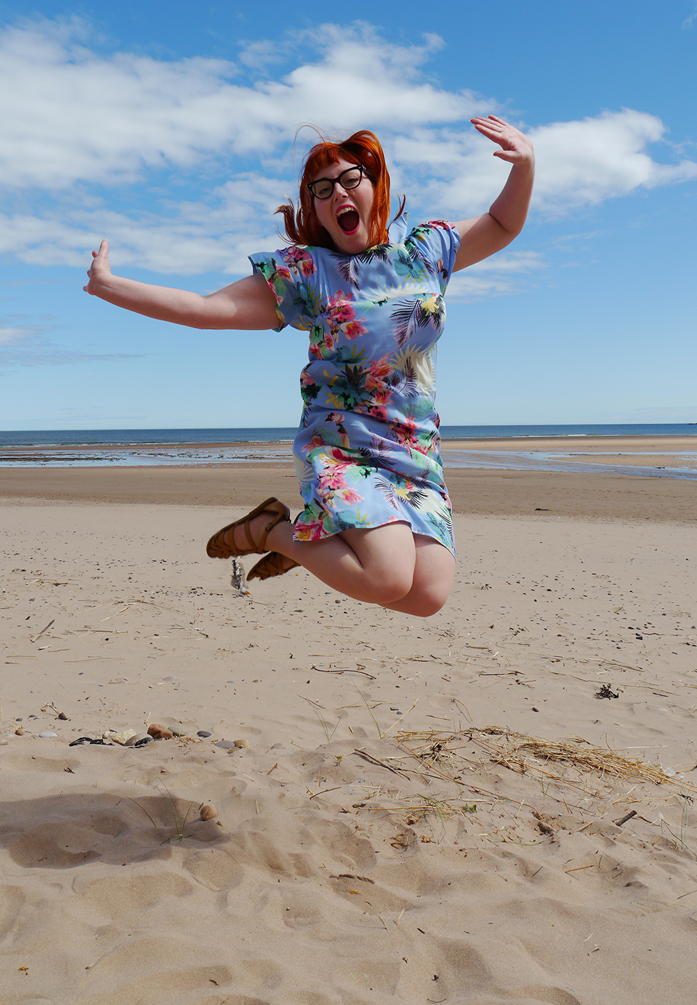summer style, tropical style, beach style, DIY dress, dressmaking, Styled by Helen: Tropical, red head, ginger, Topshop sandals, jump shot