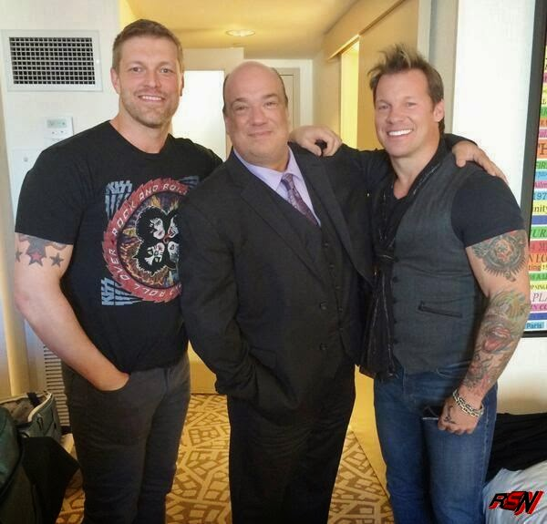 Chris Jeicho with Edge and Paul Heyman.