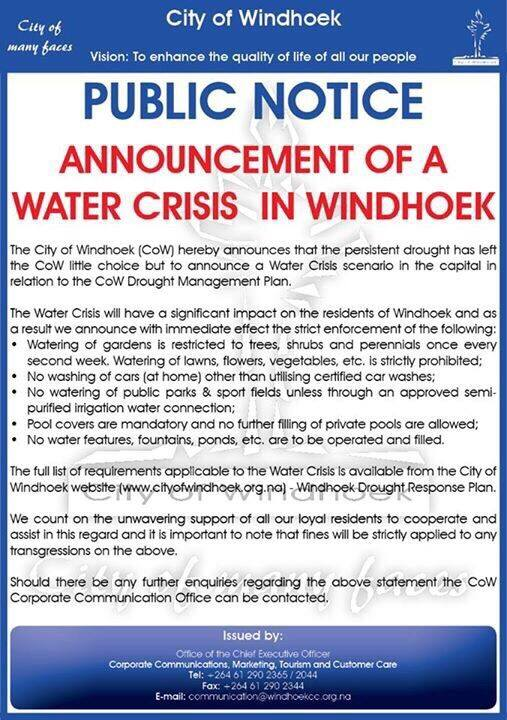 Namibia: Windhoek Municipality water crisis public notice