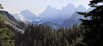 View of the steep ridges of the Cascades