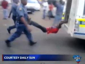 police dragging video man