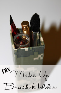 Re-purposing empty toothpaste box into make-up brush holder