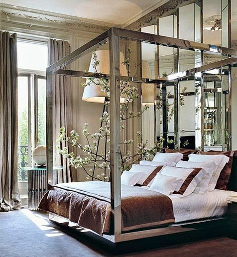 beautiful traditional glamorous bedroom with floor lamps