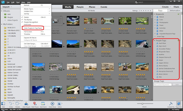 Making things easy and providing more convenient access to different things is probably, one of the main idea of 11th version apart from some cool features in it. Here we are going to give you some top level glimpses about the changes in main interface of Elements Organizer. And next post would run you through the similar stuff in Editor. Let's check out these screenshots and understand the kind of changes we have in Adobe Photoshop Elements 11.This is how Elements Organizer 11 looks like Quite clean, more options in one screen and friendlier. Now Organizer has tried to make the whole organizing system more convenient with further fragmentation of woorkflows in terms of separate rooms. It's very well like our houses, where different types of rooms are used for different purposes and aligned well with the architecture. Also all details are kept in mind like - what all should be part of a particular room, which set of rooms are more related etc. Anyways, Elements Organizer 11 has four types of main rooms called - MEDIA, PEOPLE, PLACES, EVENTS. Here we are not going to discuss these in details but names are quite intuitive to make you some solid guesses around the same.In new Organizer of Adobe Photoshop Elements 11, now Folders are shown in two mode and works far better than earlier versions. by default you see all the folders from which you have imported the files into organizer and we can also switch to hierarchical mode which is what we used to see in old versions.Media Room shares almost all the functionality what we used to have in old Organizer (Image-well)...Full Screen View...Top bar of Elements Organizer 11 to switch between one room to another.People room is more about organizing the photographs according to the face information available.This was more of a quick glimpse through screenshots and would come with detailed information about new offerings in Adobe Photoshop Elements 11.
