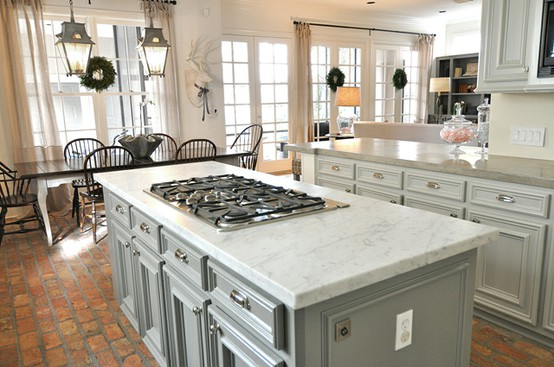 Best Blue Gray Cabinets Marble Counter Tops Brick Floors 400 x 300