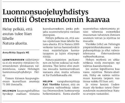 Luonnonsuojeluyhdistys moittii Östersundomin kaavaa