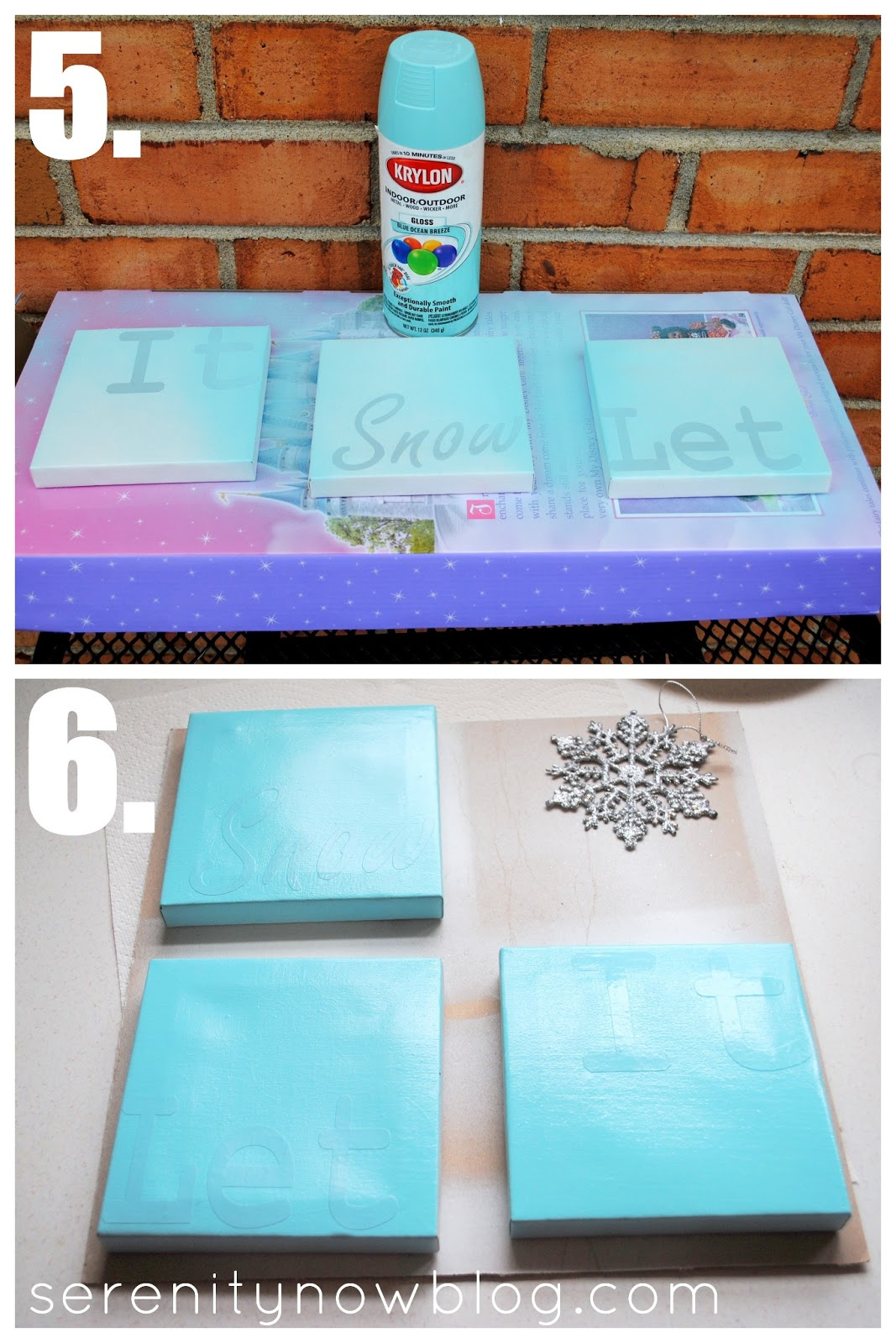 Nice Canvas Spray Paint Ideas Part - 9: Mini Snowflake Canvases (Silhouette Project) From Serenity Now