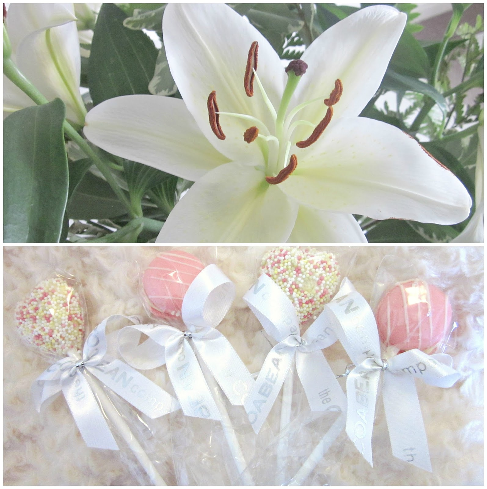 Lilies with cake pop lollies and macarons