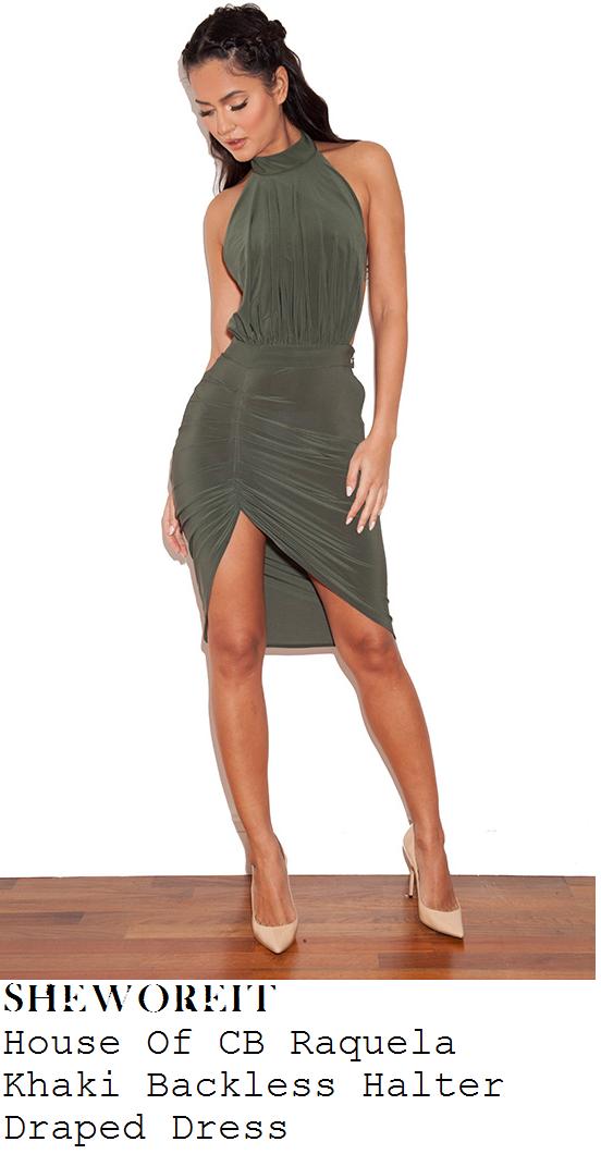 chloe-sims-khakj-green-sleeveless-halter-asymmetric-dress