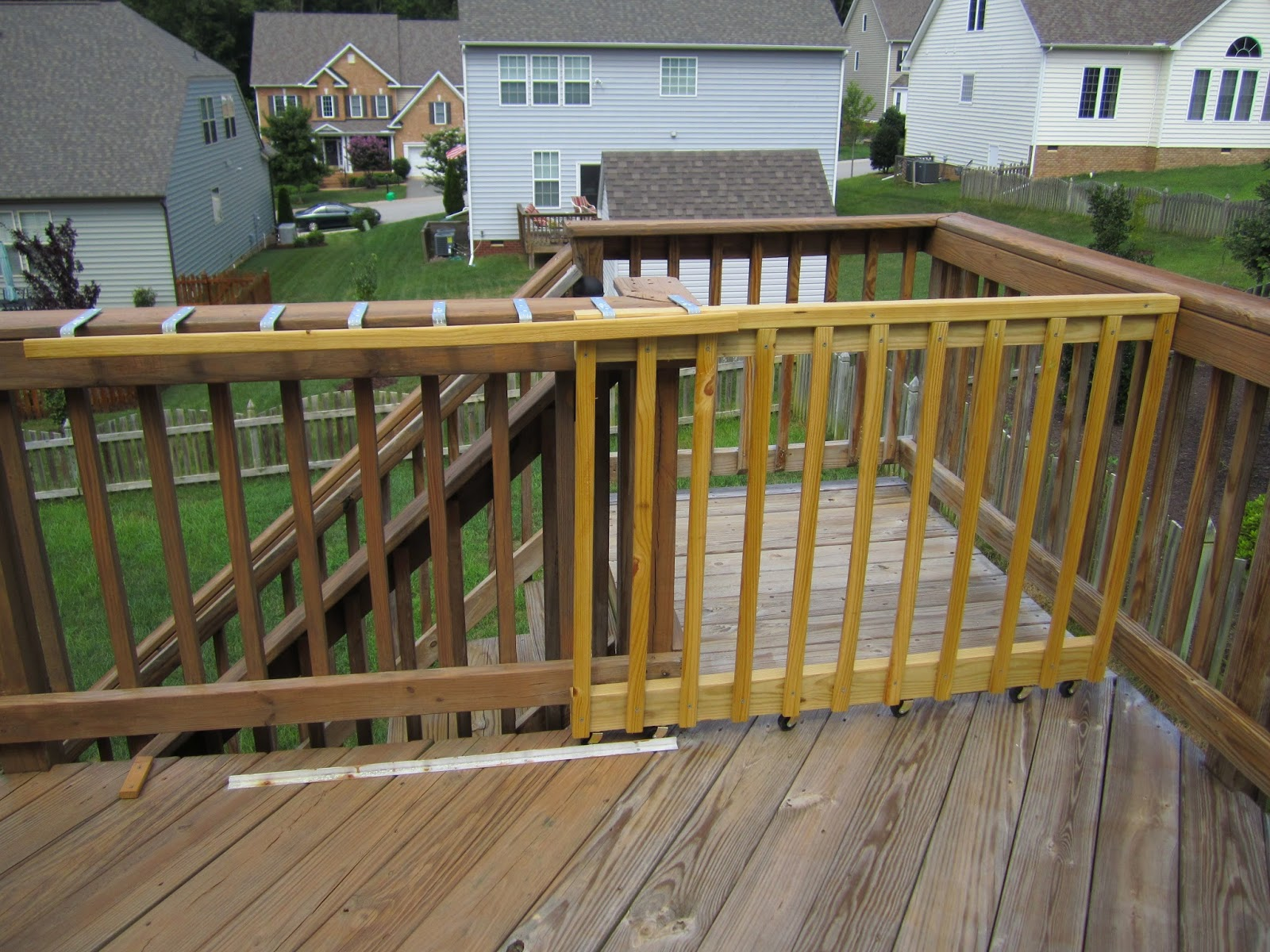 Pool Deck Gate Ideas above ground pool deck fencing aboveground pool deck connected to house using removable fencing Sliding Deck Gate Outdoors Pinterest Deck Gate And Decking