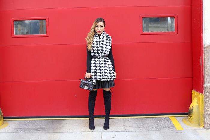Glamorous Dogtooth Blanket Cardigan, asos pleated leather look skirt, hermes belt, OTK boots, steve madden otk boots, chanel boy bag, baublebar earrings, kendra scott bracelets, how to wear blanket scarf, hermes belt, fashion blog, winter fashion