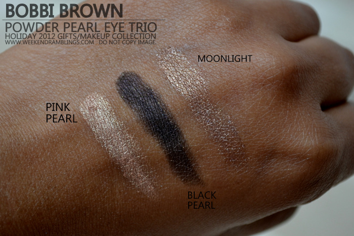 Bobbi Brown Powder Pearl Eyeshadow Trio - Holiday 2012 Makeup Gifts Collection Pink Black Moonlight Indian Darker Skin Swatches Beauty Blog