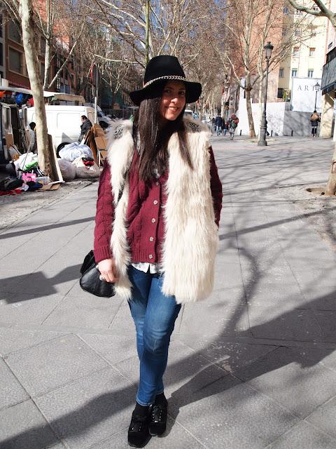 combine a fur vest