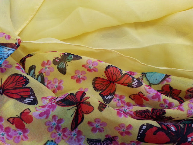 shawl chiffon 2 layer printed butterfly yellow