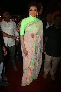 Kajal Aggarwal Latest Pictures in Green Saree at Subbarami Reddy Grandson Rajiv Wedding Reception