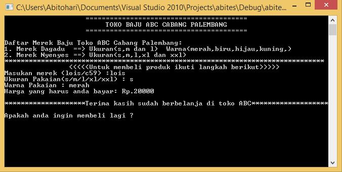 Program Kasir C++ Toko Baju ABC