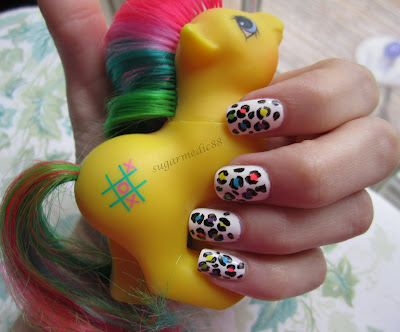 80s Neon Bright Leopard Print Nails