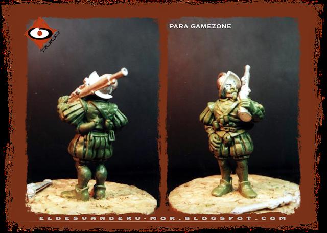 Miniatura diseñada y esculpida por ªRU-MOR para Gamezone, ejercito de los tercios del Imperio de Warhammer Fantasy. Arcabucero con arma al hombro