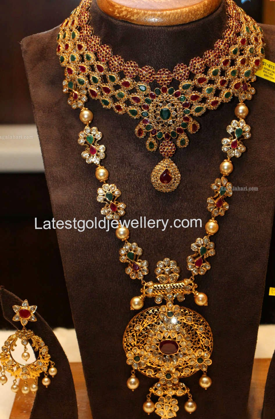 indian product water necklace diamond peacock