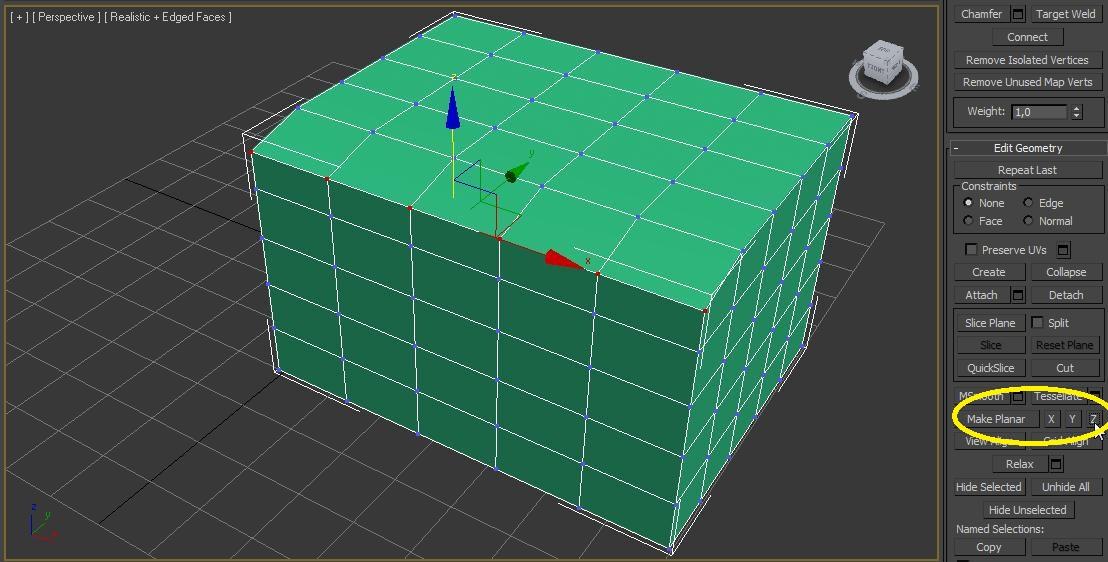 Alineando vértices usando el eje Z del comando make planar en 3ds max