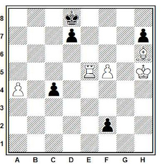 Estudio artístico de ajedrez compuesto por Hugh Blandford (British Chess Magazine, 1954)