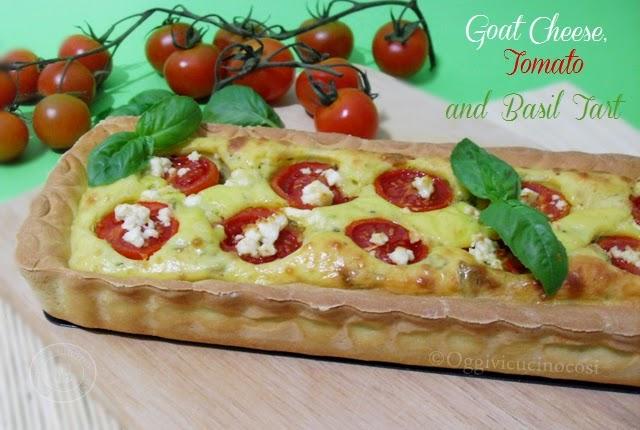 torta salata con formaggio di capra pomodori e basilico