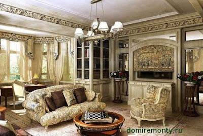 Гостинная в колониальном стиле интерьера