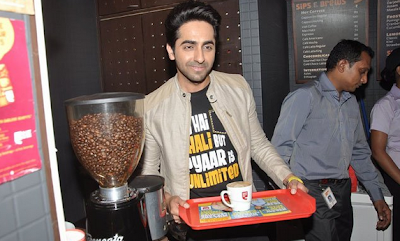 Ayushmann &  Sonam Kapoor at Promotion of 'Bewakoofiyaan' at Cafe Coffee Day