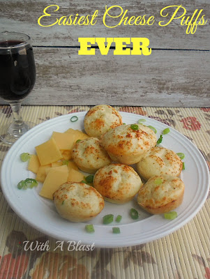 Easiest Cheese Puffs EVER ~ Process/blend - bake and serve ! Delicious served warm with butter #Snacks #CheesePuffs #QuickRecipe www.WithABlast.net