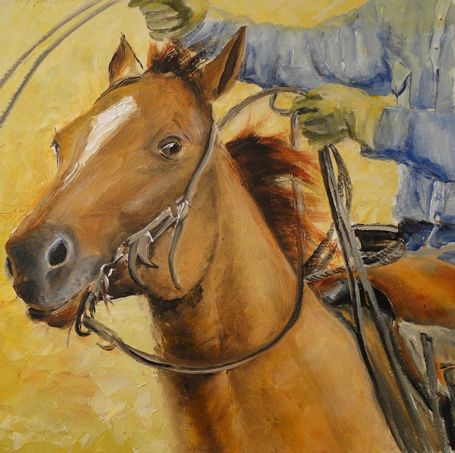 oil painting of cowboy on galloping horse