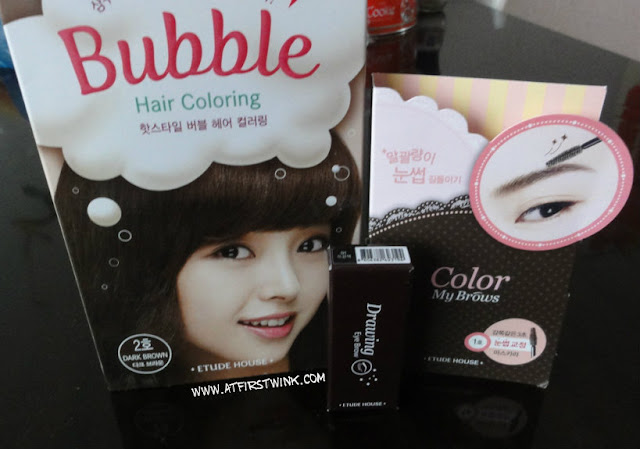 Etude House Bubble Hair color, drawing eyebrow pencil and color my brows mascara