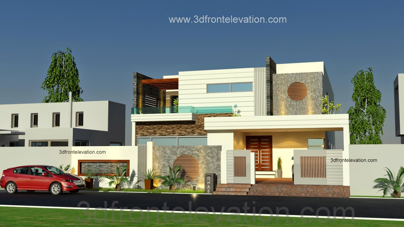 3d front 1 kanal beautiful modern house for Modern villa plans and elevations