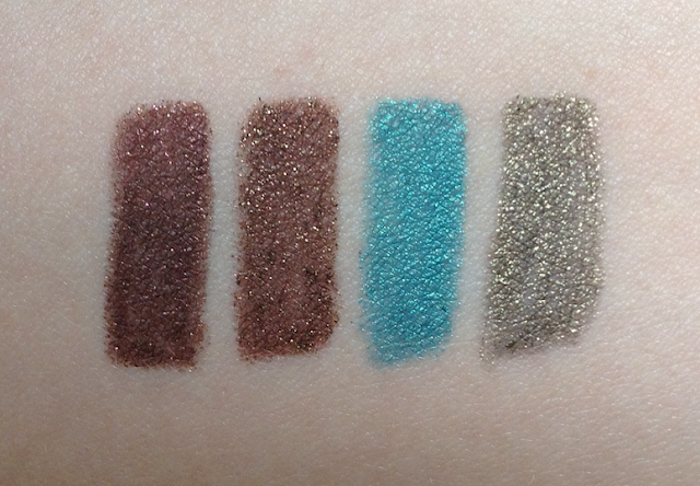 Tarina Tarantino Eye Dream Hyperliners Puppeteer, Locket Book, Spark of Envy, Sparkling Ammunition swatches