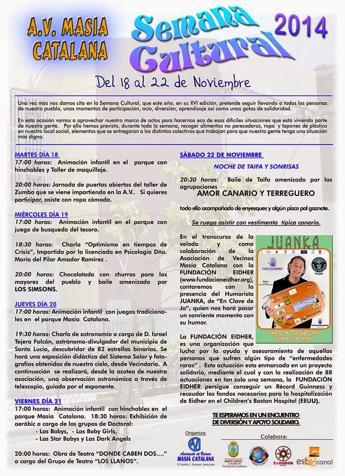 Próxima Actividad en Vecindario (A.V. Masía Catalana)  20/11/2014